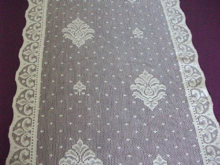 Vintage Cotton White Nottingham Lace curtain / tablerunner / fabric - Claire